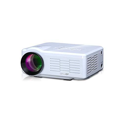 Kuan-projectors Projektor, tragbarer Mini-1080P-HD-Projektor, Unterstützung für 90-Zoll-Projektionsbildschirme, kompatibel mit USB/SD/VGA/HDMI/AV/Micro-USB/TV,White