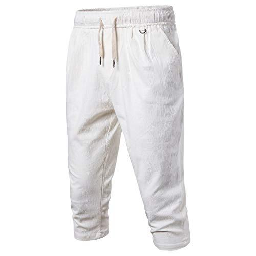 GreatestPAK Herren Taschen 3/4 Jogginghose Sommer Einfarbig Strand Elastische Taille Klassische Passform Shorts Hosen Baumwolle Leinen Freizeithose -