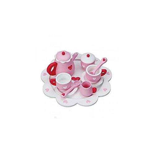 123 ...Teeservice SLH rosa mit Herzchen für Kinderküche Spielküche von Holzspielzeug Peitz