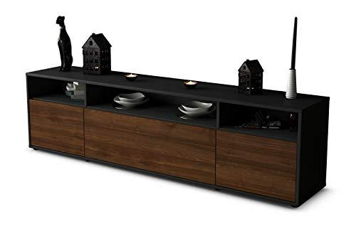 Stil.Zeit TV Schrank Lowboard BIANCA, Korpus in Anthrazit Matt/Front im Holz-Design Walnuss (180x49x35cm), mit Push-to-Open Technik, Made in Germany