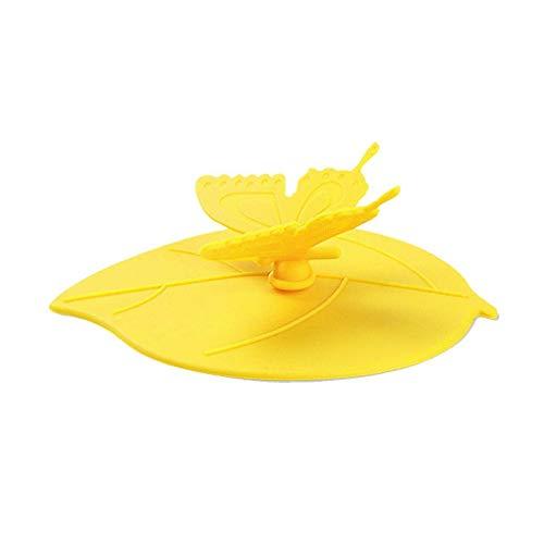 Bodbii Platinum Silikon Tassendeckel Schmetterling Tassenabdeckung Anti-Staub, luftdichte Versiegelung Trinkflasche Deckel, gelb, 10.5 * 12.5cm - Platin 10.5