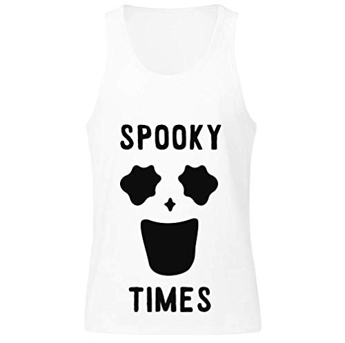 Spooky Times Funny Minimal Ghost Face Herren Tank Top Small