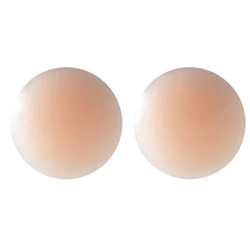 Frcolor 1 par de Silicona Invisible Nipplecovers Adhesivo Reutilizable Levantamiento de Senos Cubierta de pezón Pasties para Mujer (Forma Redonda)