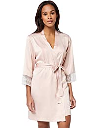 Iris & Lilly Women's Satin Kimono with Lace Details