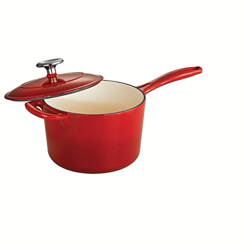 Tramontina Enameled Cast Iron Covered Sauce Pan, 2.5-Quart, Gradated Red by Tramontina 2.5 Quart Sauce
