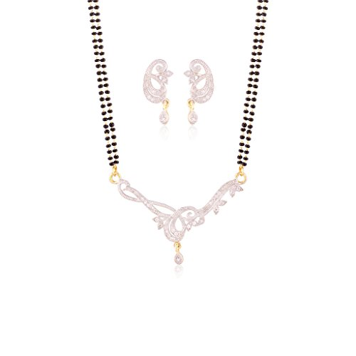 I Jewels Gold Plated American Diamond Mangalsutra Pendant with Chain & Earrings for Women D040