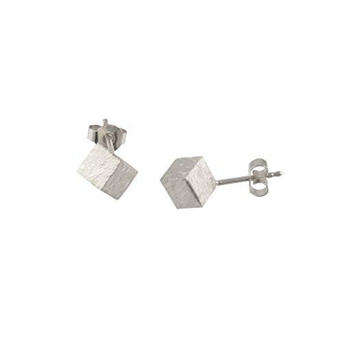 Würfel Ohrstecker hochwertige Goldschmiedearbeit aus Deutschland (Sterling Silber 925, eisgekratzt, anlaufgeschützt) Kantenlänge 4 mm, Würfel-Ohrringe, Damen-Ohrringe