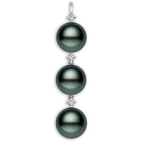 14 K oro blanco AAA color negro colgante de perla cultivada Tahití con diamantes
