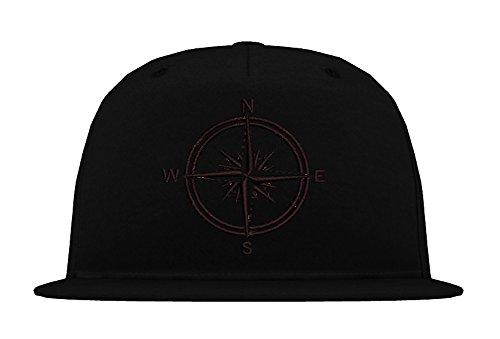 Obey Caps (TRVPPY 5 Panel Snapback Cap Modell Kompass Maritim Navy Seefahrt Marine, Schwarz-Schwarz, B610)
