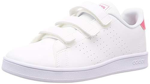 Adidas Advantage C, Zapatillas de Tenis Unisex niño, Blanco Ftwbla/Rosrea/Ftwbla 000, 28 EU