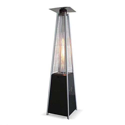 Alice's Garden Chauffage d'extérieur - Arctic 13kW Gris foncé - Parasol Chauffant gaz Pyramide, Design, véritable Flamme, roulettes incluses