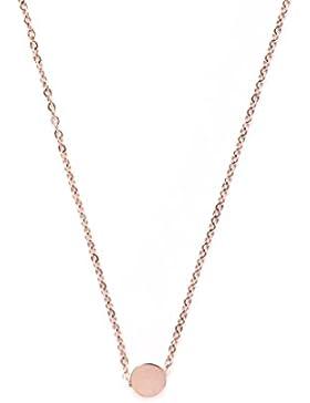 Happiness Boutique Damen Kette mit Anhänger Kreis in Rosegold | Minimalist Kette aus Titan mit Rosegold Plattiert...