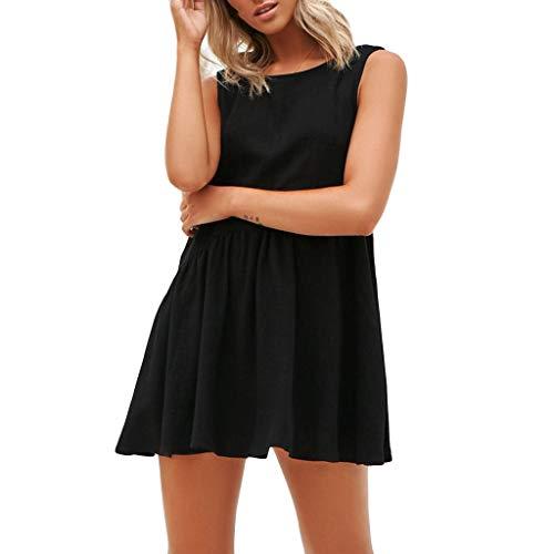 Zegeey Damen Kleid äRmellos Solide Halther Rundhals Chiffon Mini Sommer Strandkleid Schwarz Weiß Blau(Schwarz,XL)