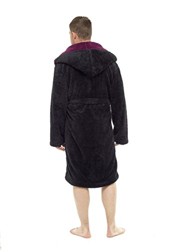 MICHAEL PAUL Herren Morgenmantel Black/Wine Hooded