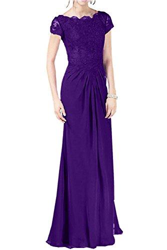 Charmant Damen Royal Blau Spitze Kurzarm Chiffon Abendkleider Partykleider Promkleider Bodenlang Schmaler Schnitt Neu Lila