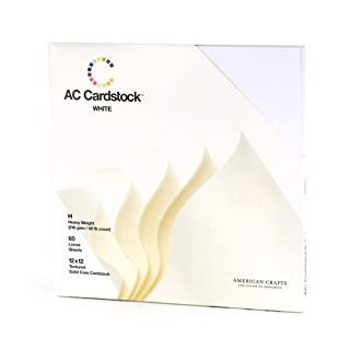 American Crafts Cardstock Pack 12 x 12-inch, Pack of 60, White