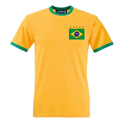 Printmeashirt T-Shirt Herren Fußball Brasilien Vintage personalisierbar S Sunflower/Kelly Green -