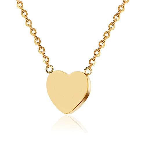 GD GOOD.designs EST. 2015 ® Damen Halskette mit kleinem Herz-Anhänger (Gold) Herz Kette mit Buchstaben (Gold (ohne Gravierung))
