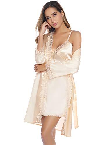IClosam Batas Kimonos Mujer Satén Encaje 2 Piezas,Camisón
