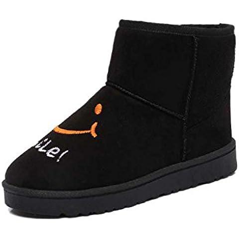 TIAMO Il nuovo autunno e inverno le donne più stivali di velluto di spessore stivali piatti breve neve ( colore : Beige , dimensioni : 40 )