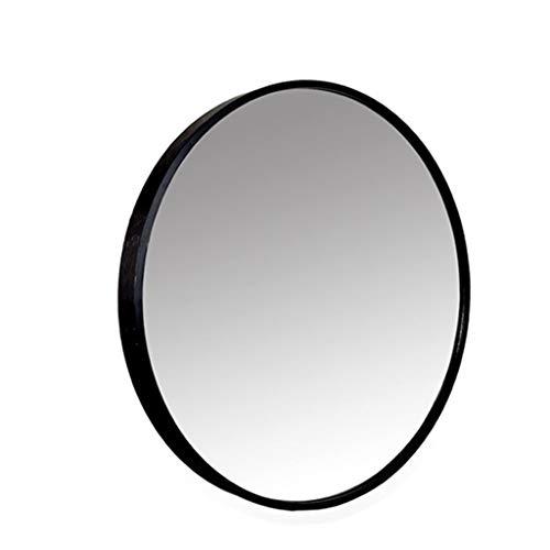 Schminkspiegel Wandspiegel Dekor Rund, Zeitgenössisch Gebürstet Metall Schwarz Wandspiegel Explosionsgeschützt Silberspiegel Glas Wandmontierter Spiegel (Color : Black, Size : 40cm) - Zeitgenössische-glas-wand