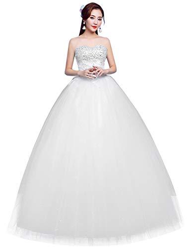 besbomig Luxus Perlen Pailletten Brautkleid Spitze A Linie Ärmellos Hochzeitskleider - koreanische...