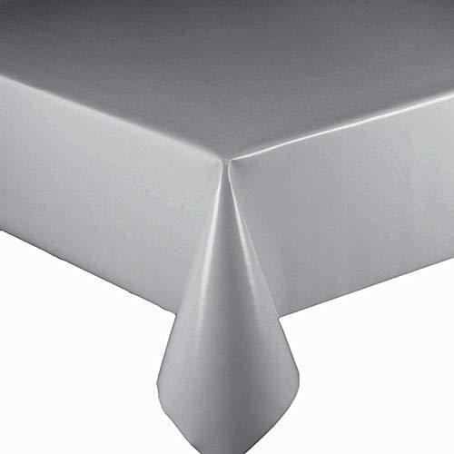 DecoHomeTextil Lacktischdecke Wachstuch Wachstischdecke Tischdecke Gartentischdecke Farbe & Größe wählbar Silber 150 x 100 cm Eckig abwaschbar Lebensmittelecht