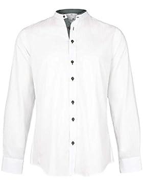Gweih&Silk Herren Trachten Hemd mit Stehkragen Slim Fit Weiss Grün, Grün (Grün),