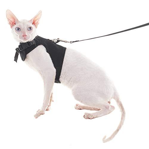 HOMIMP Escape Proof Katzengeschirr und Leine Set Verstellbar–Holster Style Soft Mesh–Für Kitty Kätzchen Walking Schwarz Medium