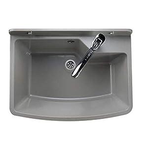 GOSPO Ausgussbecken mit stehende Armatur, Waschbecken 61 cm x 44 cm x 23,5 cm, Waschtrog mit Überlauf und Siphon, Spülbecken inkl. Zubehör, Waschraum (Grau)