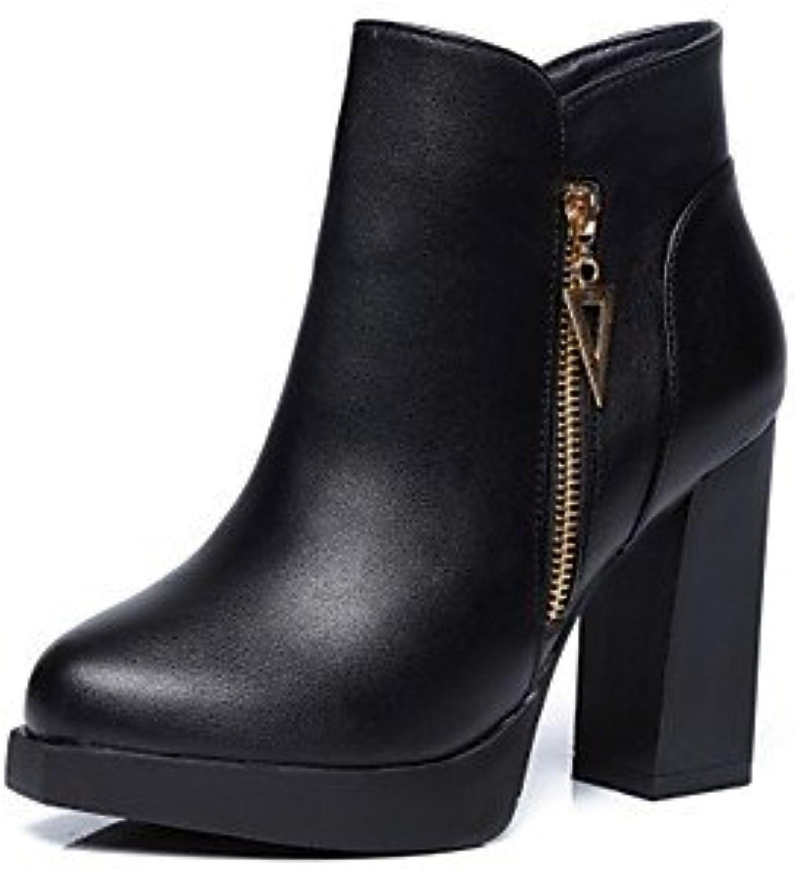 db6b628f8db909 des chaussures automne hiver bottes mode similicuir similicuir similicuir  bottes chunky talon round toe bottines / bottines pour  attacher...b077znbwcy ...