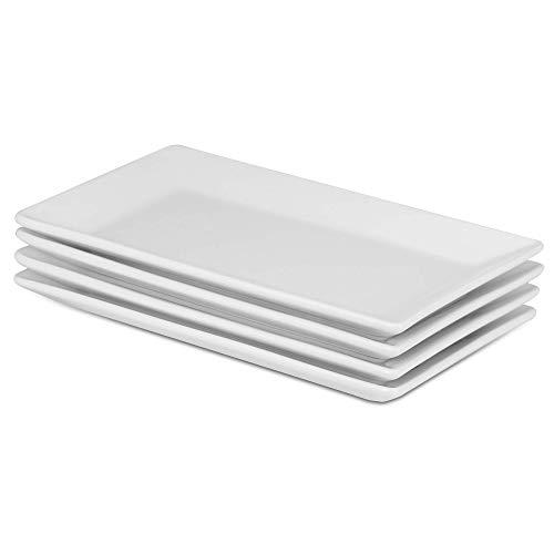 Juego de 4 platos de porcelana para servir | Placas Blancas De Alta Calidad | Perfecto para buffets, postres, aperitivos y entradas | Lavaplatos, horno de microondas y caja fuerte del horno | M&W