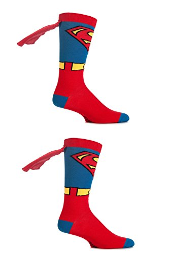 Herren 2 Paar SockShop DC Comics Superman und Batman Cape Socken - Superman 40-45