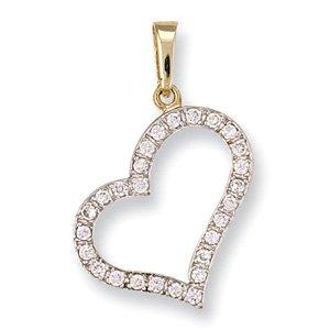 In oro giallo 9 kt con pendente a forma di cuore, zirconia cubica, stile Tiffany