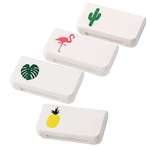 4 Stücke Pillendose Tablettenboxen, Wasserdichter Klein Pillenbox Kapseldose 3 Fächer Lagerung case für Draussen Reisen Ausflug