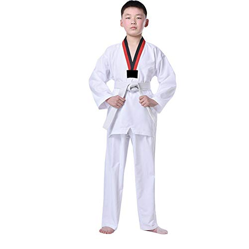Mao Kostüm Anzug - Goyajun Taekwondo Anzug mit Gürtel, Langarm Karate Anzug Kampfsport Kostüm für Unisex Kinder Jugendliche Erwachsene Weiß 120
