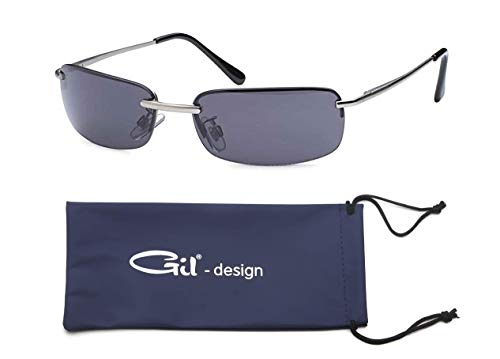 GIL-Design Hochwertige Rechteckige Herren Unisex Matrix Sonnenbrille mit Federscharnier - Radbrille Sportbrille Biker Sunglasses (Schwarz (Bügel - Silber))