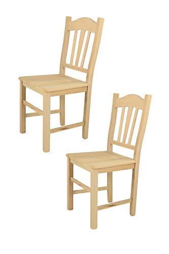 Tommychairs 2er Set Stühle Silvana im klassischen Stil, robuste Struktur aus poliertem Buchenholz, unbehandelt und 100{370663fafaed7ca7182fd24c17dfa802e40a22d744939fb1f0e786c01f948ac0} natürlich, im natürlichen Farbton und mit Einer Sitzfläche aus poliertem Holz