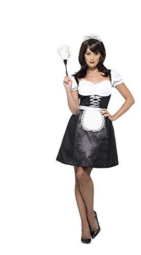 Smiffys 45504X1 - Damen Französische Magd Kostüm, Kleid, Unterrock, Schürze, Haarband und Staubwedel, Größe: 48-50, schwarz