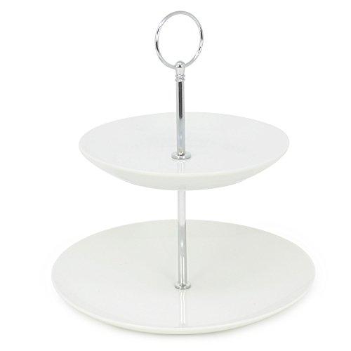 COM-FOUR® Etagere Porzellan mit 2 Ebenen, Höhe 23 cm, für z.B. Gebäck, Obst oder Pralinen