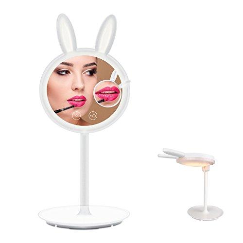 Make-up-Spiegel Kosmetikspiegel Beleuchtet mit LED Beleuchtungmit, YINUO LIGHT High Definition Falterbar Standspiegel Profi Kosmetikspiegel Schminkspiegel Tischspiegel Batteriebetrieben (Up Make Kaninchen)