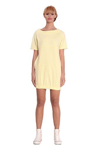 Damen Basic Minikleid kurzes Kleid Dress Longshirt T-shirt U-Boot-Ausschnitt Gr. S M 36 38, 2269 Pastellgelb