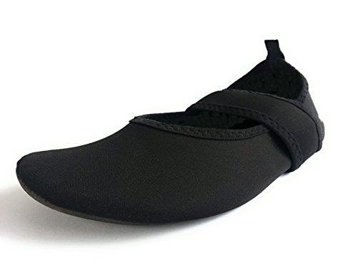 WeWee Die gesunden Allround-Barfußschuhe Damen – Vielseitig einsetzbare Minimalschuhe aus Neopren Wasserschuhe, Strandschuhe Badeschuhe (38/39 EU, Schwarz)