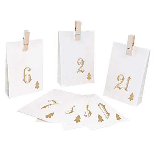 Pajoma calendario dell'avvento simple, 1 x 24 sacchetti da riempire, con mollette, natale