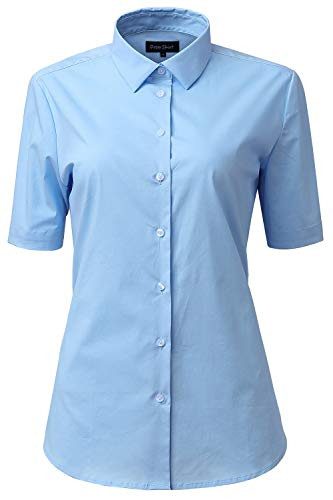 FLY HAWK Kurzarm Bluse, Damen Hemdbluse Casual Einfarbig Oberteil Bluse Basic Kent-Kragen Elegant OL Work Slim Fit Stretch Schicke Hemd Größe 34 bis 52
