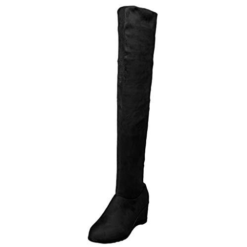 GNYD Damen Stiefeletten mit Absatz Winter rutschfest Verschleißfest Moe Warme Knie Elastische Stiefel Keil Hohe GrößE Student Schuhe Boot (Wildleder Keil-knie-boot)