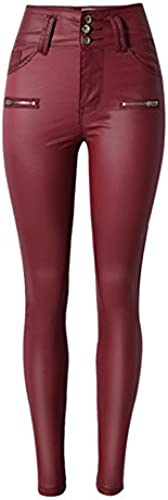 Ecupper Damen PU Faux Lederhose Skinny Stretch High Waist Wetlook Kunstleder Hose