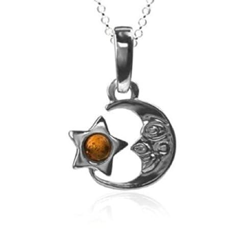 Ambre Argent Sterling Lune Pendentif Petit Modèle 45,7cm 46cm