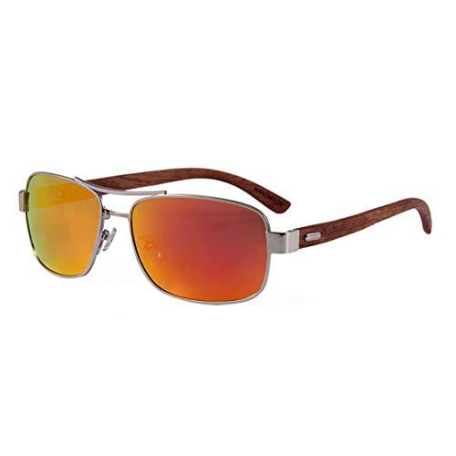 Yiph-Sunglass Sonnenbrillen Mode Klassische Metallrahmen Holzbein Unisex Polarisierte Sonnenbrille Farbige TAC Objektiv UV Schutz Handwerk Für Männer Frauen (Farbe : Gold)