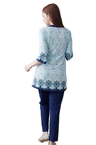 bearsland Maternité femmes Ensemble de 3pièces Allaitement Maternité pyjama Bleu - Bleu